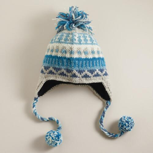 Teal Fairisle Wool Hat