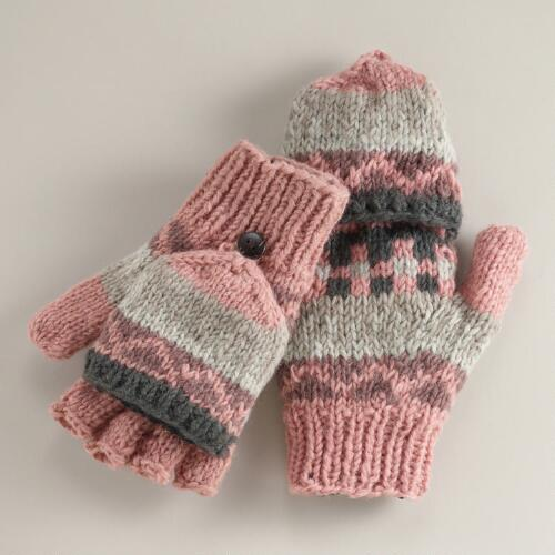 Blush Fairisle Wool Glittens