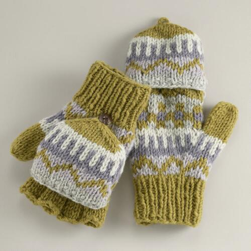 Green and Lavender Fairisle Glittens