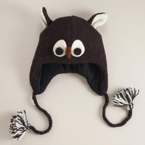 Brown Wool Owl Hat