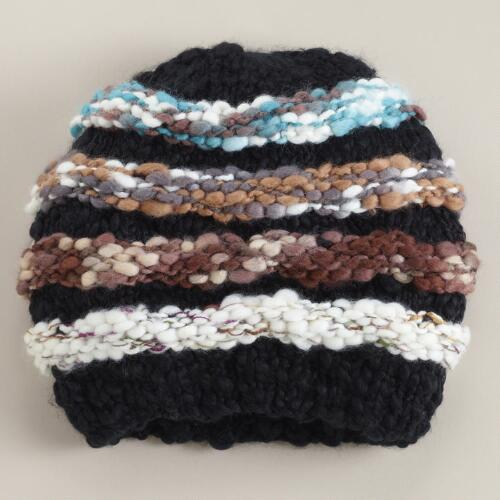 Multicolored Striped Nubby Beanie