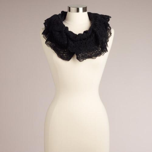 Black Lacy Infinity Scarf