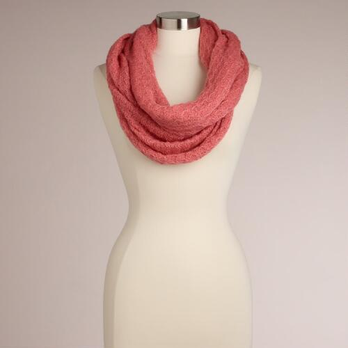 Pink Open Weave Infinity Scarf