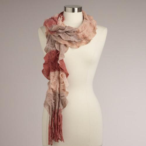 Pink Ombre Ruffle Scarf