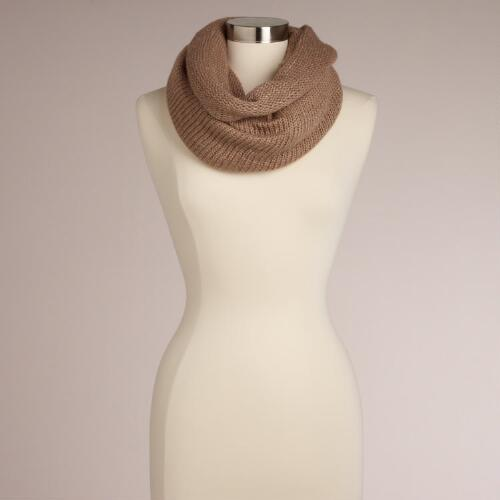 Taupe Lurex Infinity Scarf