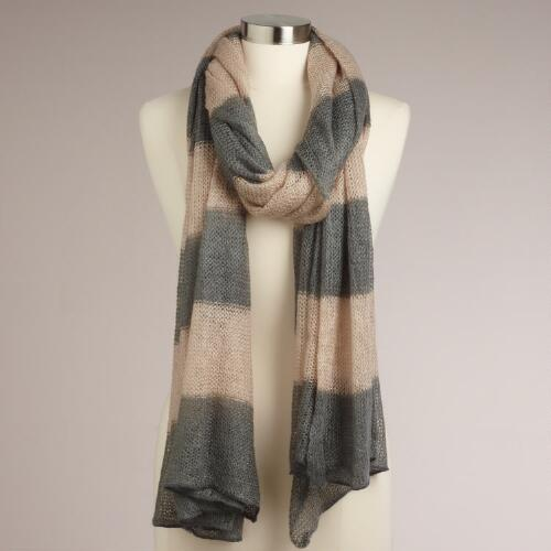 Gray and Oat Wide Stripe Scarf