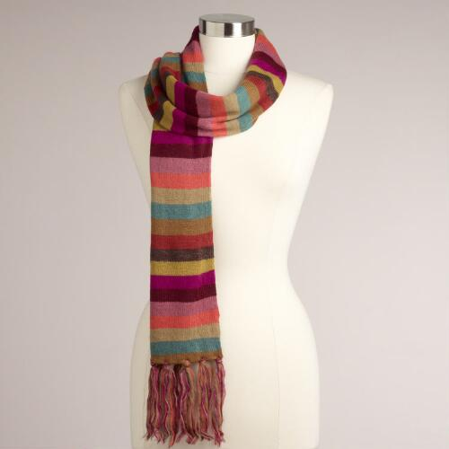 Multicolored Stripe Fringe Scarf