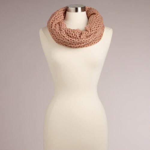 Blush Open Weave Infinity Scarf