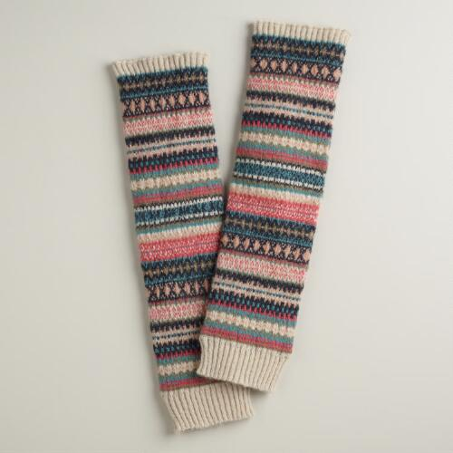 Pink and Turquoise Fairisle Wool Legwarmers