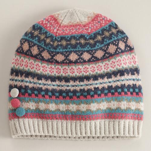 Pink and Turquoise Fairisle Wool Beanie