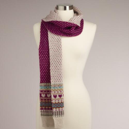 Fairisle Hearts Wool Scarf