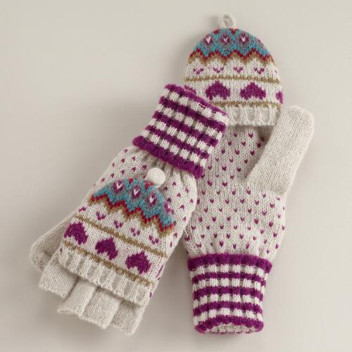 Fairisle Hearts Wool Glittens