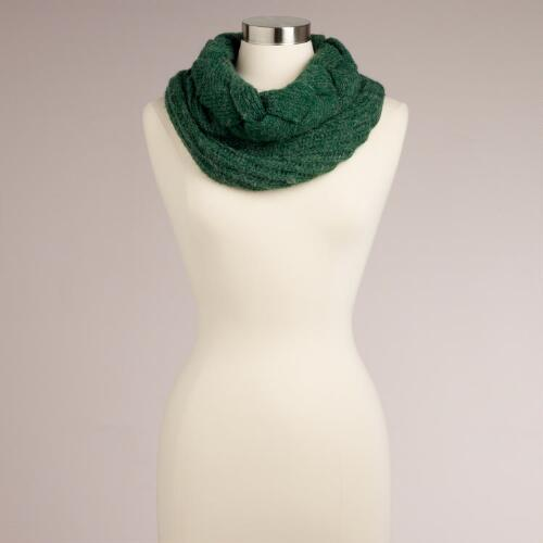 Green Braided Funnel Scarf