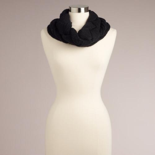 Black Braided Funnel Scarf