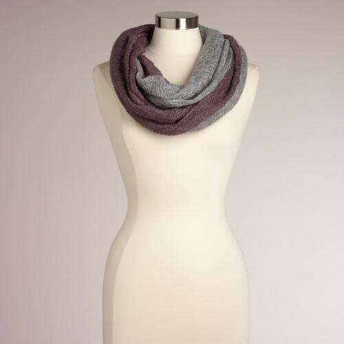 Lavender and Gray Two-Toned Fringed Infinity Scarf