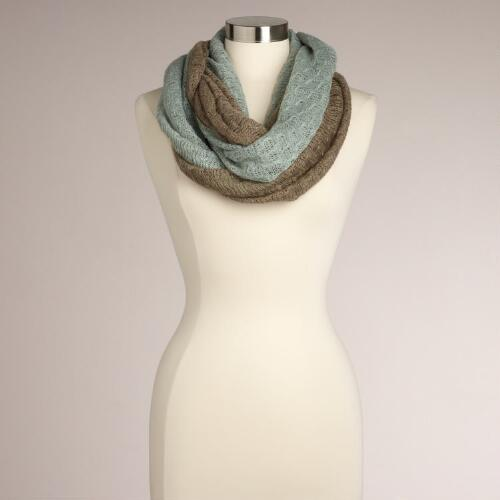 Mint and Taupe Two-Tone Infinity Scarf