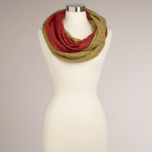 Orange and Chartreuse Two-Tone Infinity Scarf