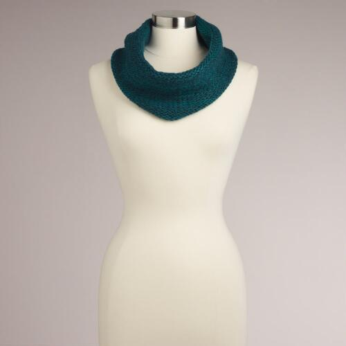 Teal Marbled Funnel Scarf