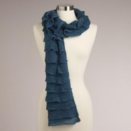 Teal Waterfall Ruffle Scarf