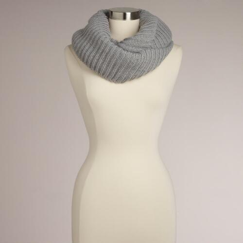 Gray Ribbed Infinity Scarf