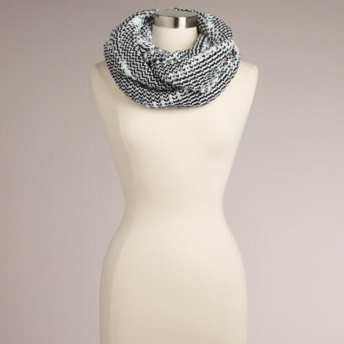 Black and White Marbled Infinity Scarf