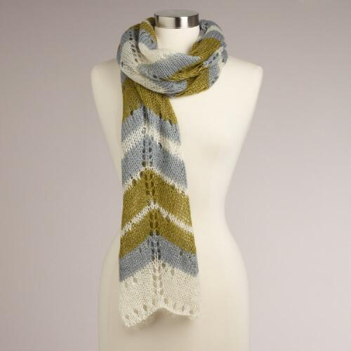 Green and Gray Zigzag Scarf