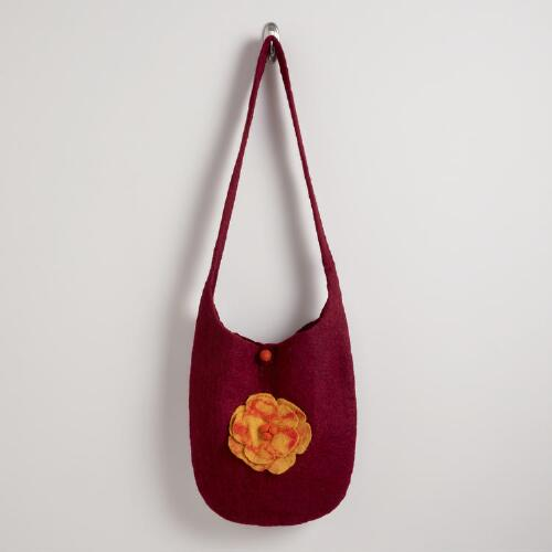 Burgundy Felt Flower Bag
