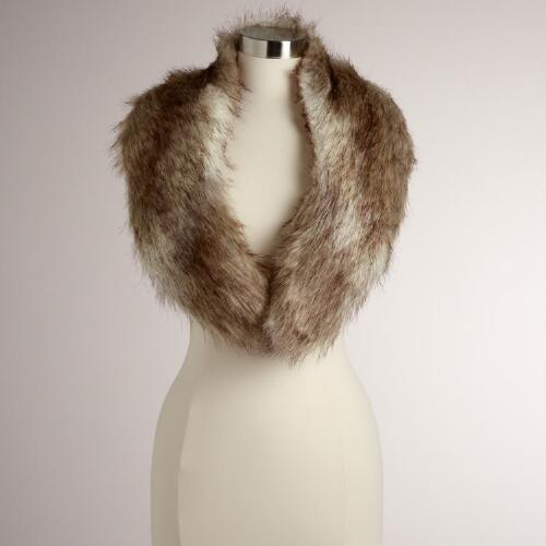 Gray Faux Fur Fox Scarf