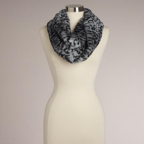 Black and Gray Leopard Funnel Neck Scarf