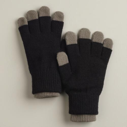 Black and Gray Three-in-One Gloves