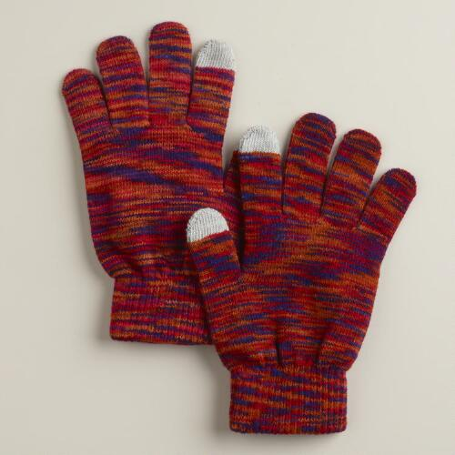 Red Marled Touch Screen Gloves