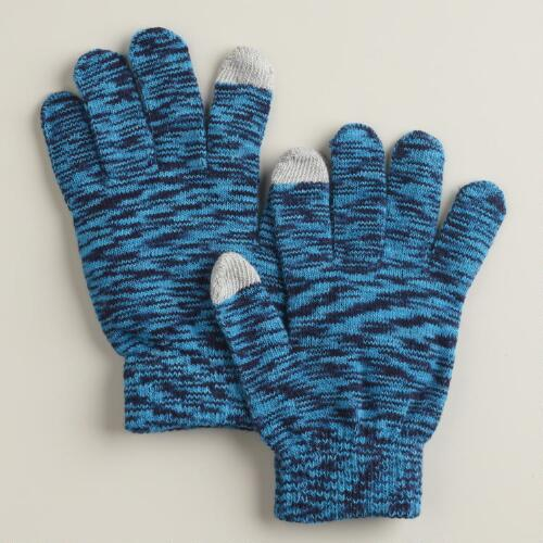 Blue Marbled Touch Screen Gloves
