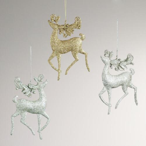Metal Deer with Leaves and Berries Ornament 3A