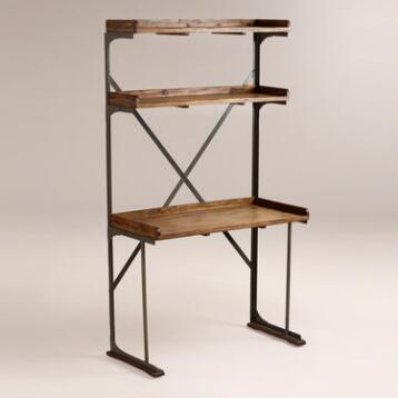 Wood and Metal Shelved Asher Desk