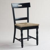 Black Camille Chairs with Rush Seat, Set of 2