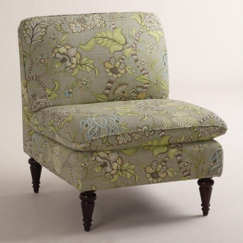 Gray Floral Ravenna Slipper Chair