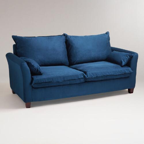 Midnight Blue Microsuede Luxe Sofa Slipcover