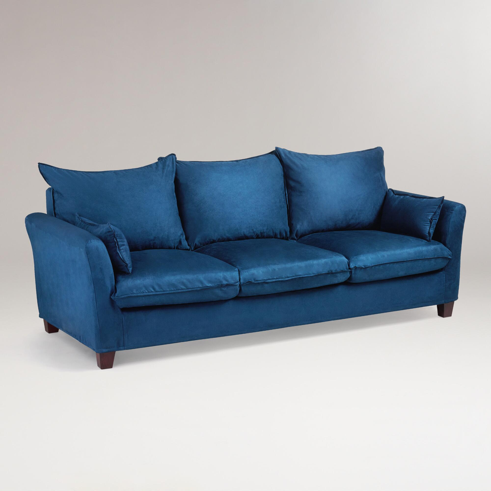Midnight Blue Microsuede Luxe 3 Seat Sofa Slipcover World Market