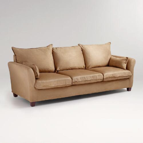Moccasin Microsuede Luxe 3-Seat Sofa Slipcover