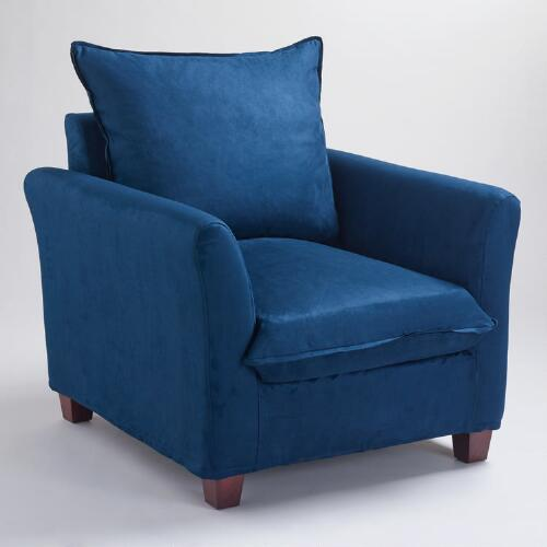 Midnight Blue Microsuede Luxe Chair Slipcover