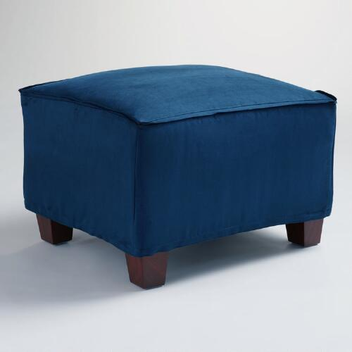 Midnight Blue Microsuede Luxe Ottoman Slipcover