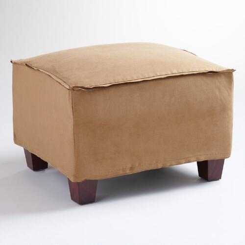 Moccasin Microsuede Luxe Ottoman Slipcover