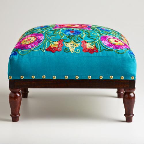 Square Embroidered Upholstery Footstool