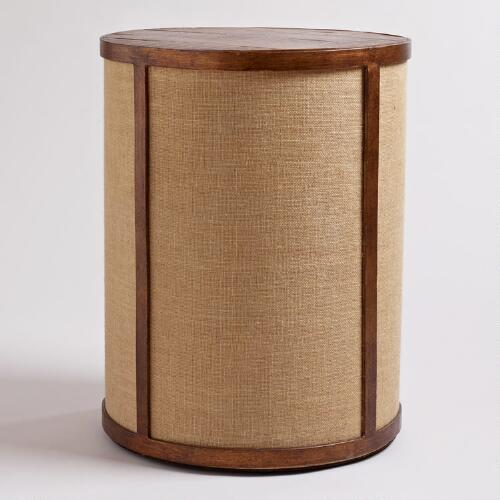 Burlap Drum Table