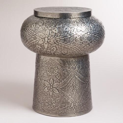Metal Embossed Accent Table
