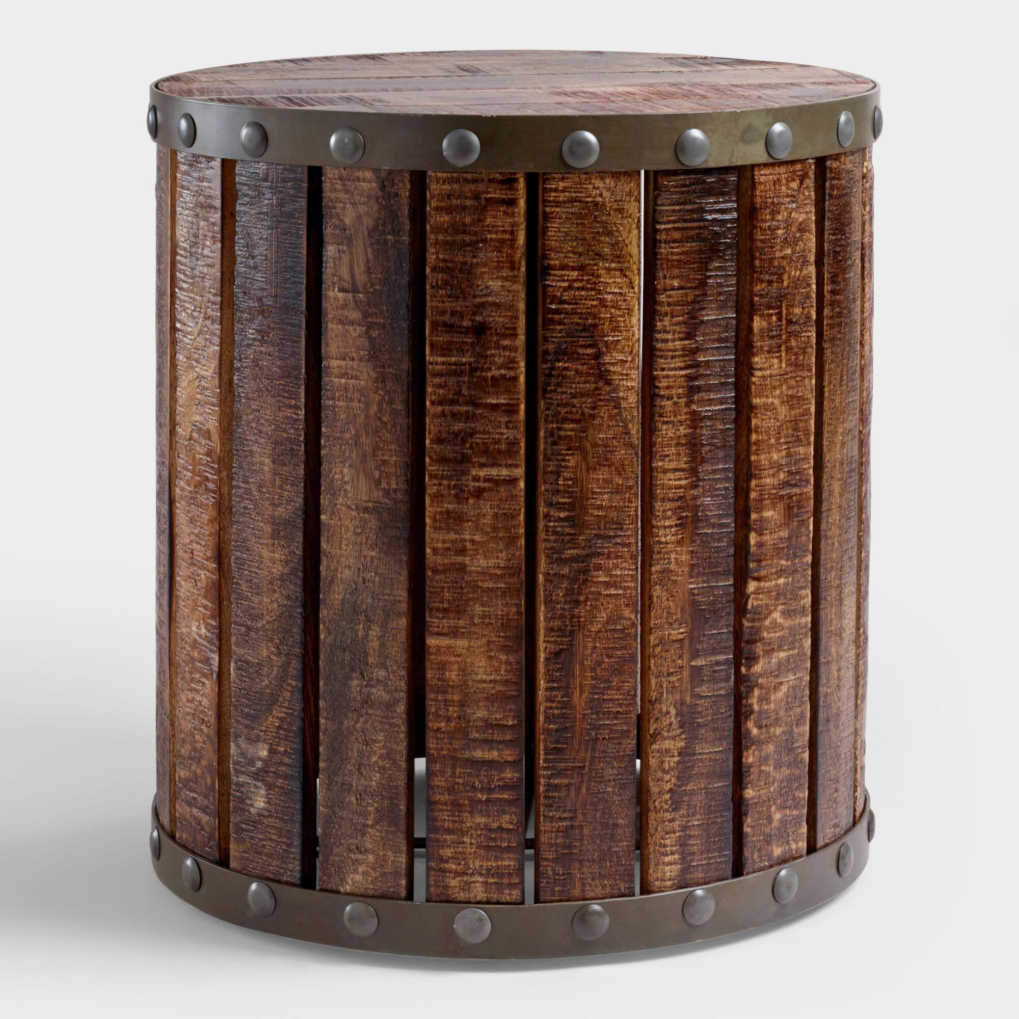 Wood plank drum table world market Coffee and accent tables