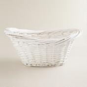 White Scooped Oval Willow Basket