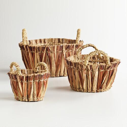 Straw Handled Baskets