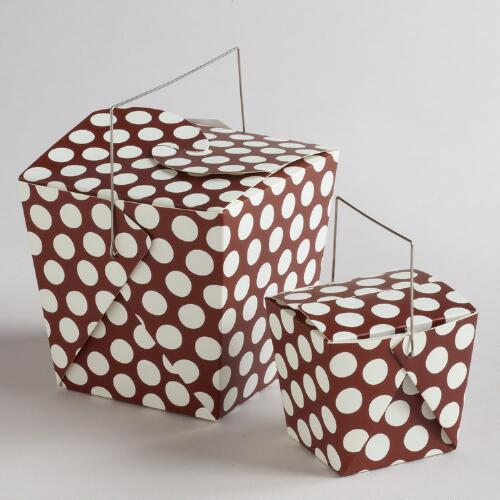 White and Brown Dot Take Out Boxes, Set of 4
