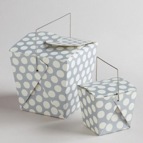White and Silver Dot Take Out Boxes, Set of 4
